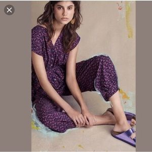 Anthropologie Maeve purple geoscope jumpsuit